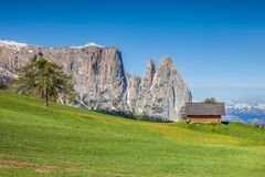 The Seiser Alm with a view of the Schlern Stock Photography