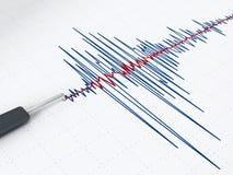 Seismic activity graph. Showing an earthquake Stock Photos