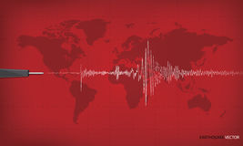 Seismic activity graph showing an earthquake. On world map background. red tone art design. Vector illustration Stock Image