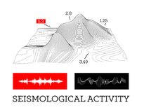 Seismic activity infographics vector illustration with sound waves, graphs and topological relief Royalty Free Stock Photography