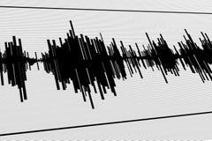 Seismic  diagram. Abstract black seismogram on white  paper background Royalty Free Stock Photos