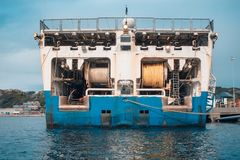 Seismic equipment on nautical ship explorer in port. Oil search industry stock photo