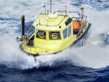 Seismic workboat offshore in Gulf of Mexico. Offshore oil and gas workboat in heavy seas Royalty Free Stock Photo