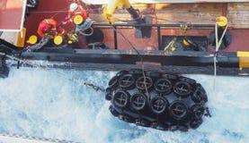 Seismische schepen of boten voor de kust in Golf van Mexico, de olieindustrie royalty-vrije stock afbeelding