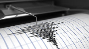 Seismograf och jordskalv vektor illustrationer