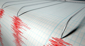 Seismografjordskalvaktivitet Royaltyfria Bilder