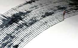 Seismogram. Visual record of earthquakes and seismic activity Stock Photo