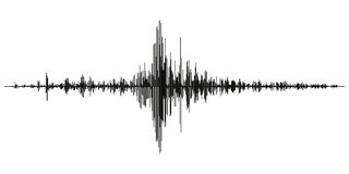 Seismogram of different seismic activity record vector illustration, earthquake wave on paper fixing, stereo audio wave diagram ba. Ckground. seismic tremors Royalty Free Stock Photo