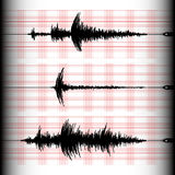 Seismogram recording. Analogous seismogram recording with a seismograph on a marked paper. Three different seismograms in one set. Seismology design vector Royalty Free Stock Photos