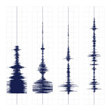 Seismogram waves print. Seismogram of different seismic activity record vector illustration, earthquake wave on paper fixing, stereo audio wave diagram Royalty Free Stock Image