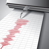 Seismograph chart. Seismograph recording ground motion during earthquake. Vector illustration Stock Image