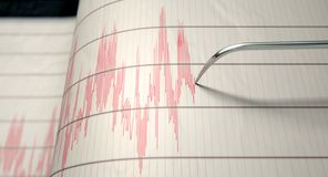 Seismograph Earthquake Activity. A closeup of a seismograph machine needle drawing a red line on graph paper depicting seismic and eartquake activity - 3D render Royalty Free Stock Image