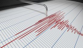 Seismograph for earthquake detection or lie detector is drawing chart. 3D rendered illustration Stock Photo
