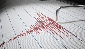 Seismograph for earthquake detection or lie detector is drawing chart. 3D rendered illustration Royalty Free Stock Photography