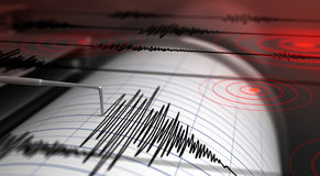 Seismograph and earthquake. Seismograph with paper in action and earthquake - 3D Rendering