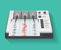 Seismograph machine with graph of seismic and. Earthquake activity. Instrument seismometer, technology graph, vector illustration Royalty Free Stock Photography