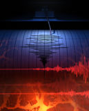 Seismograph with paper. In action and earthquake - 3D Rendering Royalty Free Stock Photo