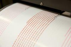 Seismograph recording earthquake. Seismograph records an earthquake on the sheet of measuring paper. Seismological device for measuring earthquakes. Seismograph stock image