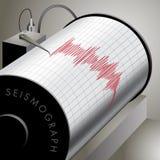 Seismograph. Recording ground motion during earthquake. Vector illustration Stock Photos