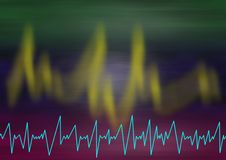 Seismograpic lines. Blurred red green background with jagged light curves and a lightblue jagged seismic lightline in the bottom Royalty Free Stock Image