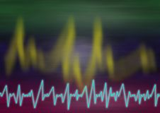 Seismograpic lines. Blurred red green background with jagged light curves and a lightblue jagged seismic lightline in the bottom stock illustration