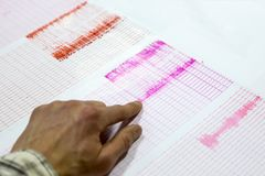 Seismological activity lines human hand. Seismological activity lines on the sheet of measuring paper. Seismological device for measuring earthquakes. Earthquake stock image
