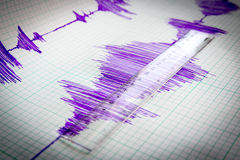 Seismological device sheet - Seismometer vignette Stock Image