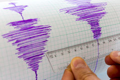 Seismological device sheet - Seismometer vignette purple Stock Photography
