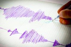 Seismological device sheet - Seismometer vignette purple Stock Photos