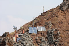 Seismological station at mount Vesuvius, Naples, Italy. Seismological earthquake monitoring station upon the Mount Vesuvius, a stratovolcano in the Italian Gulf stock images
