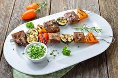 Seitan grillé avec des légumes Photo libre de droits