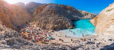 Seitan limania或Agiou Stefanou,天堂般的海滩用绿松石水 chania克利特希腊 免版税库存图片