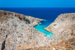 Seitan limania or Agiou Stefanou, the heavenly beach with turquoise water. Chania, Crete, Greece Stock Photography