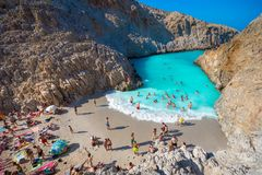 Seitan limania or Agiou Stefanou, the heavenly beach with turquoise water. Chania, Crete, Greece on August 24, 2017 Royalty Free Stock Image