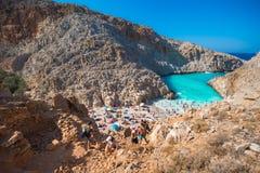 Seitan-limania oder Agiou Stefanou, der himmlische Strand mit Türkiswasser Chania, Kreta, Griechenland Stockbilder