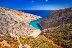 Seitan limaniastrand på Kreta Arkivbild