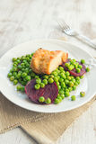 Seitan with peas and beetroots Royalty Free Stock Images