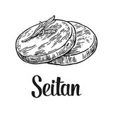 Seitan . Vector black vintage engraved illustration  on white background. Stock Photo