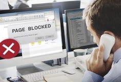 Seite blockiertes Grasenverbindungs-Daten-Ausfall-Konzept Stockfotografie