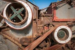 Seite der Dampf angetriebenen Dreschmaschine Stockbild