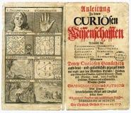 Seite des alten Buches von 1717 Stockfotos