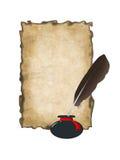Seite des alten Papiers, Tintenfaß mit einer Feder Getrennt Lizenzfreie Stockfotos