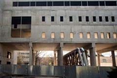 Seite des konkreten Gebäudes Stockfoto