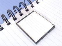 Seite eines Notizbuches mit compactflash für Speicherung der Informationen über die Kamera. Stockfoto