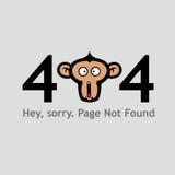 Seite 404 gefunden nicht mit Affe-Gesichts-schreiender Illustrations-Vektor-Schablone Stockfotografie