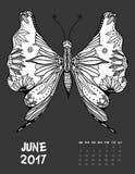 Seite mit 2017 Kalendern des Monats lizenzfreie abbildung