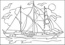 Seite mit Schwarzweiss-Zeichnung des Segelschiffs für die Färbung vektor abbildung