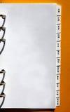 Seite von einem persönlichen Organisator Lizenzfreies Stockfoto