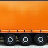 Seite von LKW oder von Lastwagen Stockfoto