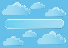 Seite 5 von 5 Modell mit Endenzusammenfassungswolken des blauen Himmels Lizenzfreies Stockbild